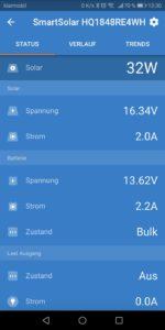 Android App von Victron für den SmartSolar 75 / 10