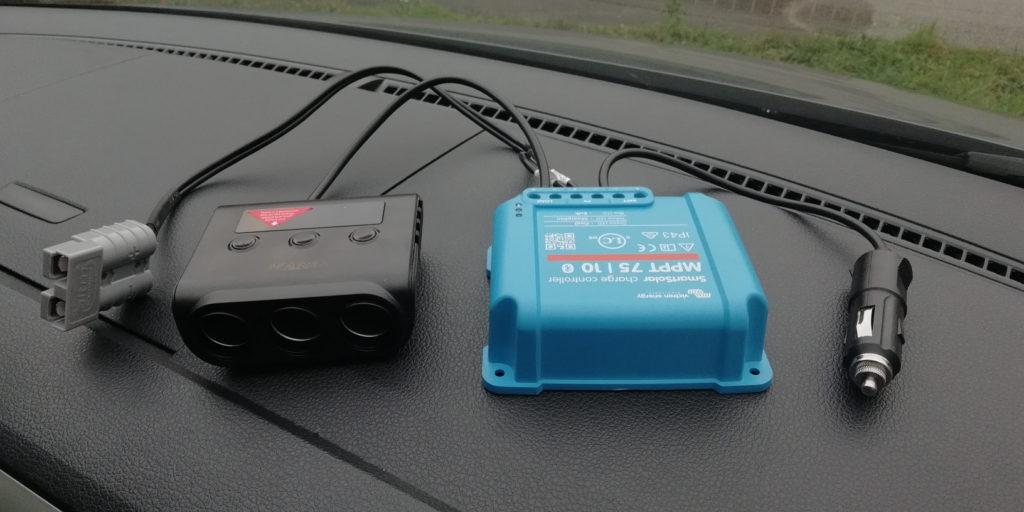 Victron Smartsolar mit Verteiler für USB und 12V Anschlüsse