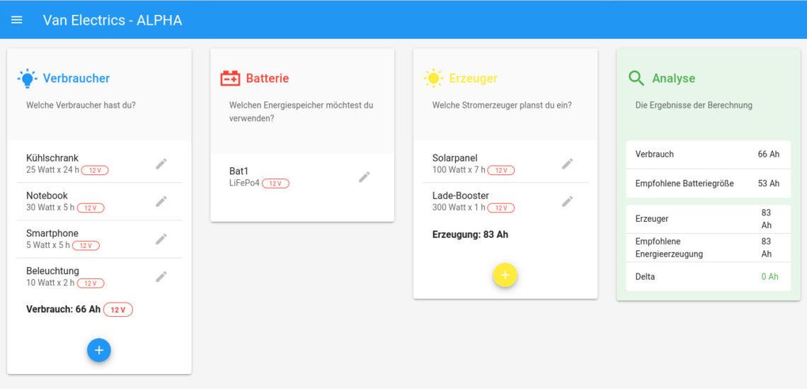 Web-App zur Auslegung der Elektrikkomponenten deines Camping-Fahrzeugs